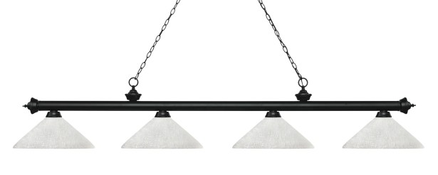 Zephyr 4-Light Cone Glass Shade Billiard Light with Hanging Chain Shade Color: White Linen, Finish: Matte Black
