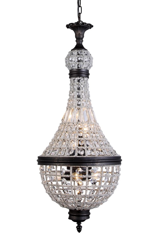 Seth 6-Light Empire Chandelier Finish: Dark Bronze, Size: 37