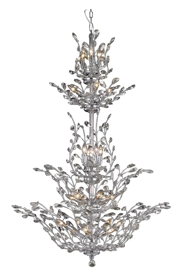 Lamons 25-Light Candle Style Chandelier Finish: Chrome, Crystal Grade: Elegant-Cut