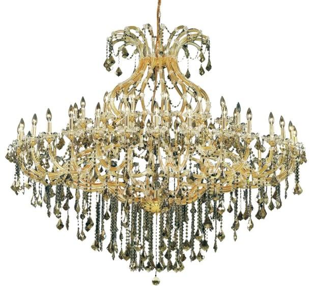 Regina 49-Light Up Lighting Royal Cut Candle Style Chandelier Finish / Crystal Finish / Crystal Trim: Chrome / Golden Teak (Smoky) / Strass Swarovski