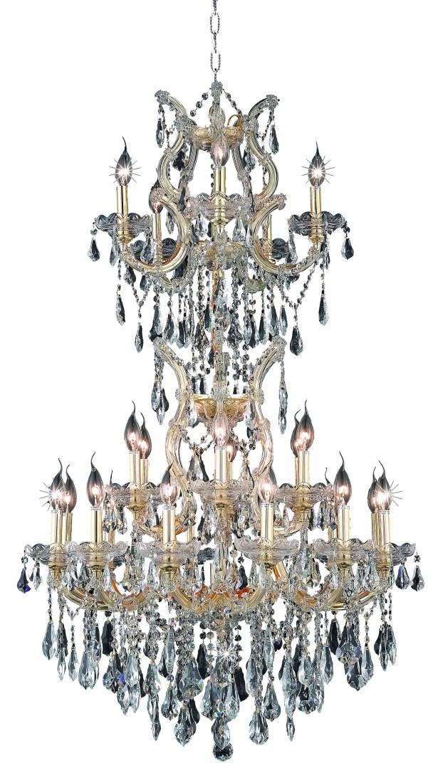 Regina 25-Light Royal Cut Candle Style Chandelier Finish / Crystal Finish / Crystal Trim: Chrome / Golden Teak (Smoky) / Strass Swarovski