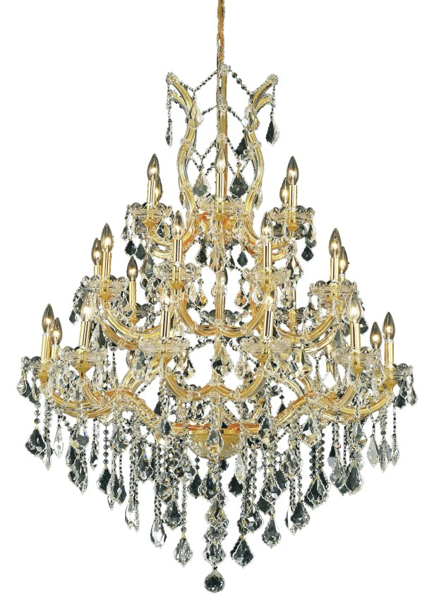 Regina Traditional 28-Light Candle Style Chandelier Finish / Crystal Finish / Crystal Trim: Chrome / Golden Teak (Smoky) / Strass Swarovski