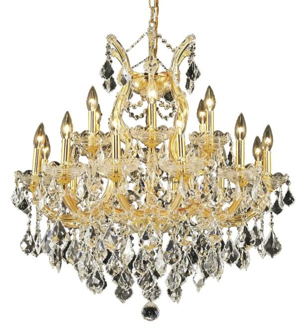 Regina Traditional 19-Light Candle Style Chandelier Finish / Crystal Finish / Crystal Trim: Chrome / Crystal (Clear) / Elegant Cut