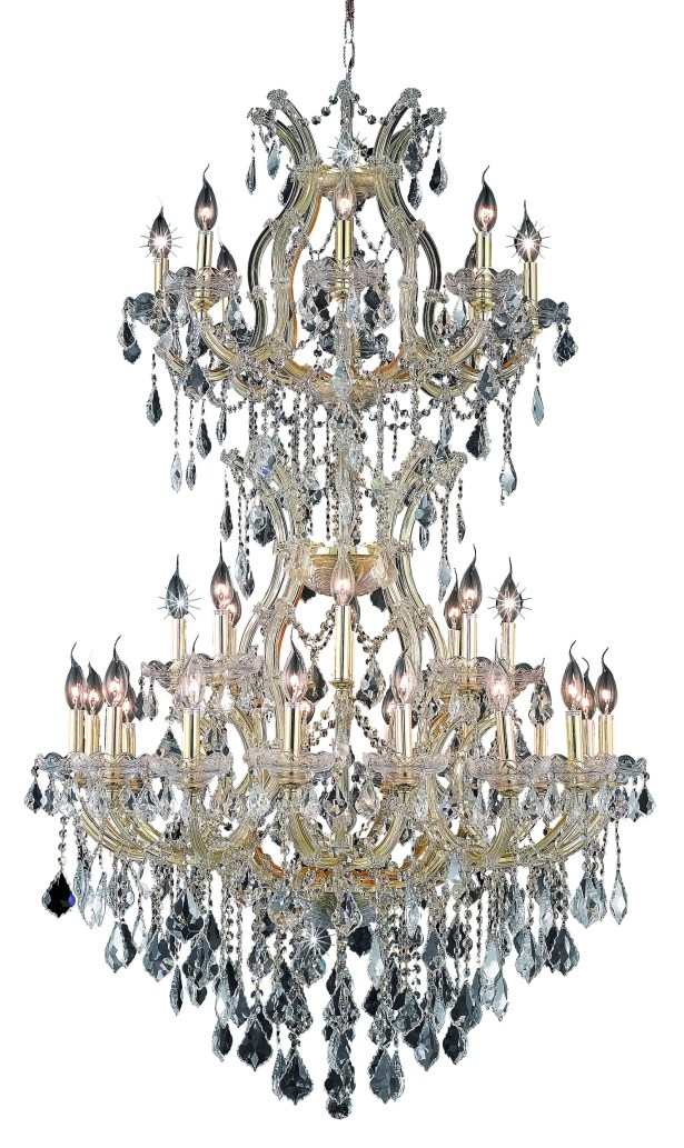 Regina Traditional 34-Light Candle Style Chandelier Finish / Crystal Finish / Crystal Trim: Gold / Golden Teak (Smoky) / Strass Swarovski