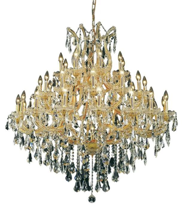 Regina 37-Light Candle Style Chandelier Finish / Crystal Finish / Crystal Trim: Gold / Golden Teak (Smoky) / Royal Cut