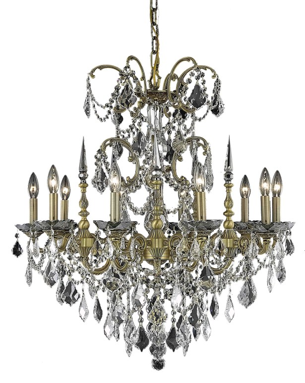 Cherie 10-Light Glass Candle Style Chandelier Finish / Crystal Finish / Crystal Trim: French Gold / Crystal (Clear) / Strass Swarovski