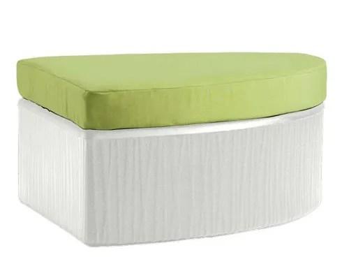 Mobilis Ottoman with Cushion Fabric: Rincon, Finish: Mobilis White