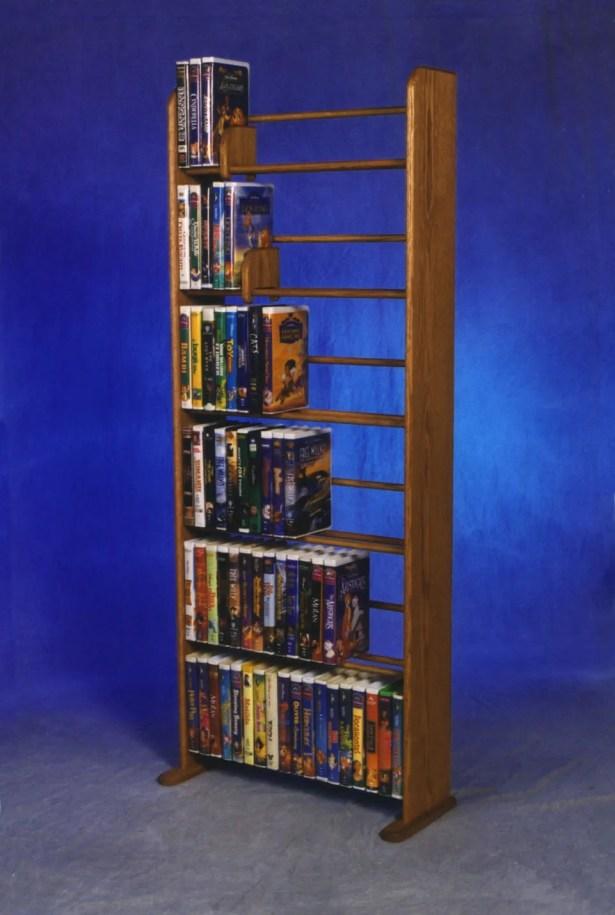 Delux VHS Dowel Multimedia Storage Rack Color: Natural