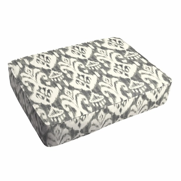 Peabody Ikat Piped Indoor/Outdoor Ottoman Cushion Fabric: Gray/White