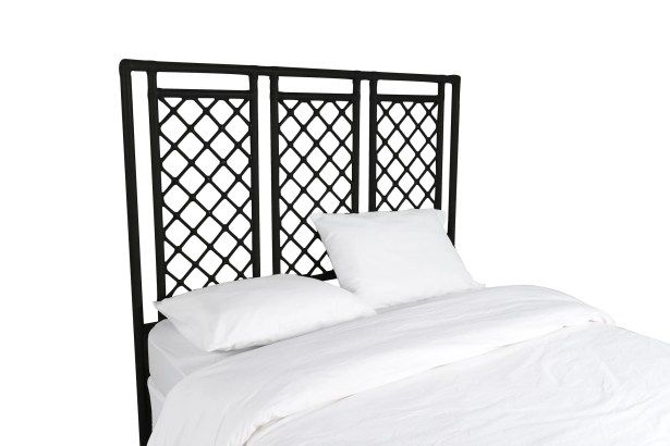 X and Diamond Open-Frame Headboard Color: Black, Size: King