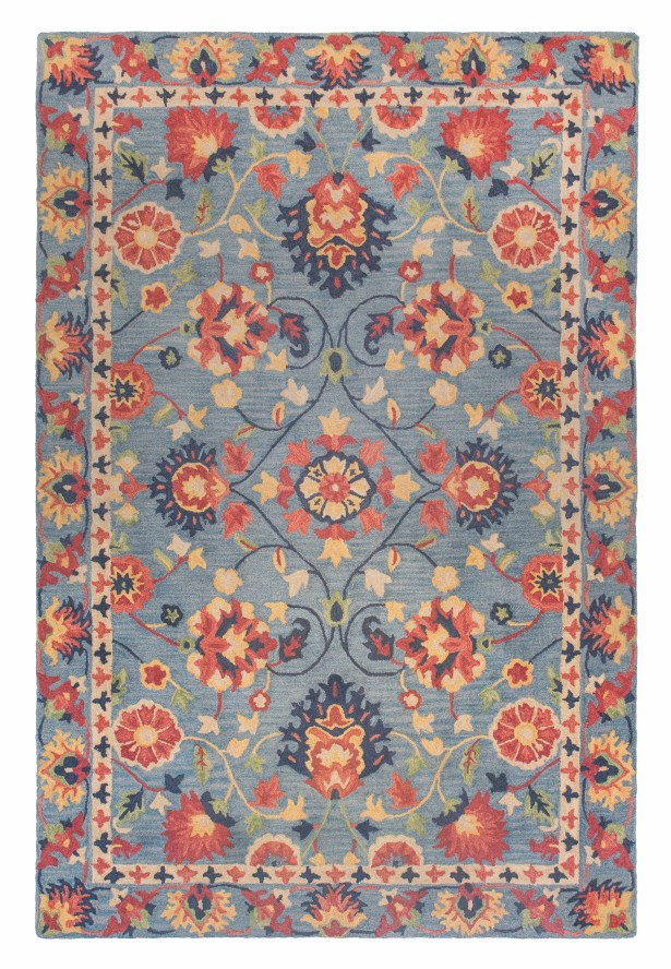 Williamsburg Hand-Turfted Wool/Silk Blue Area Rug Size: Rectangle 8'6