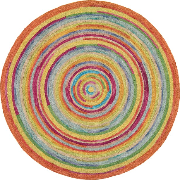 Concentric Orange/Green Area Rug Rug Size: Round 7'