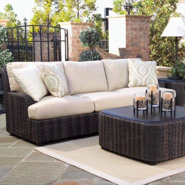 Aruba Patio Sofa with Cushions Fabric: Sunbrella Milverton Coffee