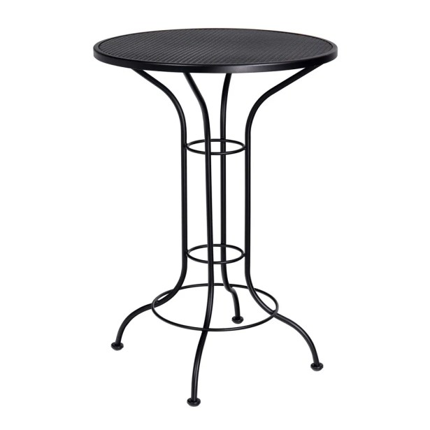 Bar Height Outdoor Round Mesh Top Wrought Iron Bar Table Bar Table Finish: Straw