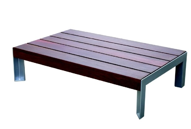 Etra Stainless Steel Coffee Table Base Finish: Stainless Steel, Top Finish: Sand Shade Polyboard