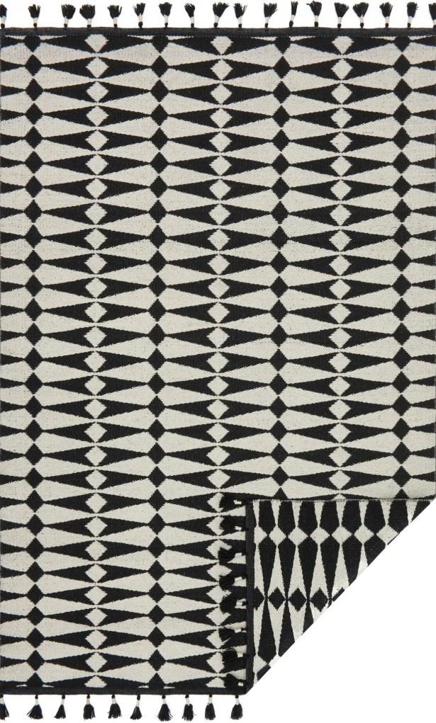 Pangburn Hand-Woven Black/Ivory Area Rug Rug Size: Rectangle 5' x 7'6