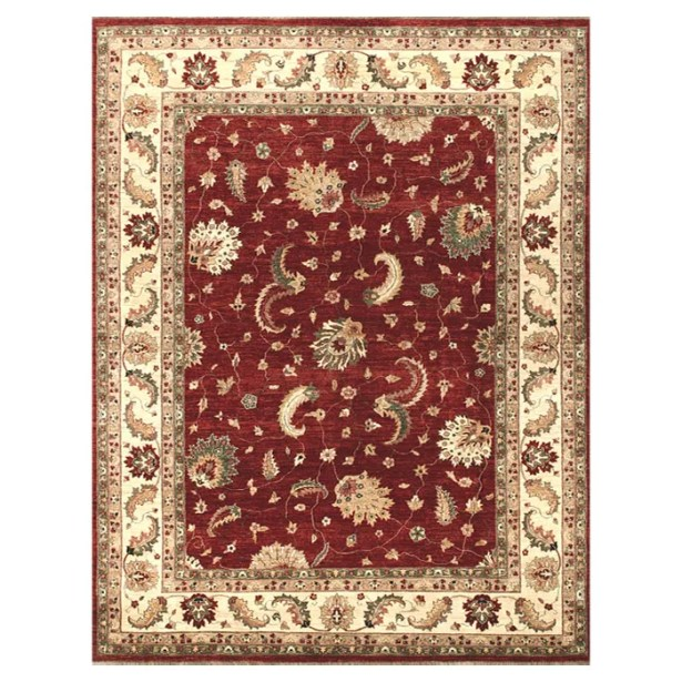 Durden Hand-Knotted Red/Ivory Area Rug Rug Size: Round 8'