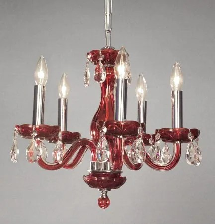 Monaco 5-Light Candle Style Chandelier Finish: Red, Crystal: Crystalique-Plus