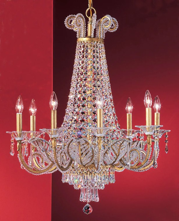 Beaded Leaf 8-Light Empire Chandelier Crystal: Drops Clear Crystalique-Plus, Finish: Olde Gold