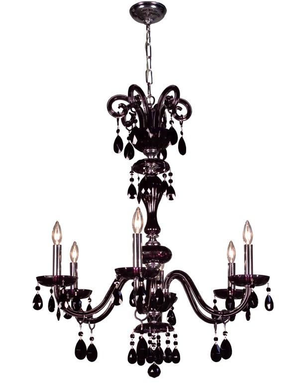 Monte Carlo 6-Light Candle Style Chandelier Crystal: Swarovski Elements Jet