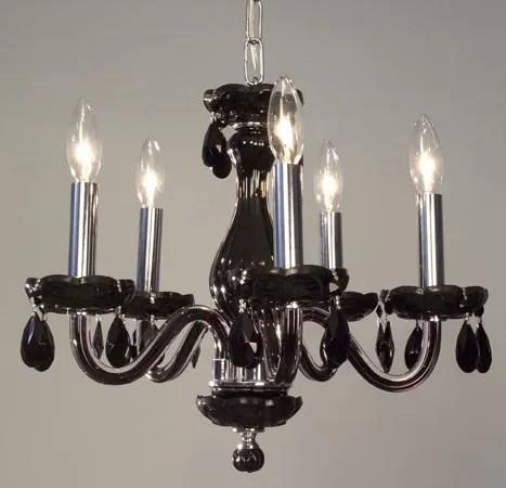 Monaco 5-Light Candle Style Chandelier Finish: Black, Crystal: White Crystal