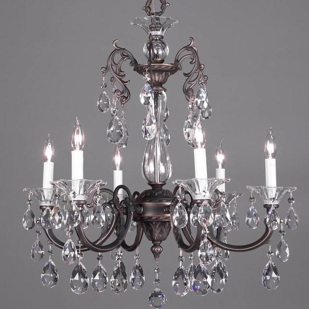 Via Lombardi 6-Light Candle Style Chandelier Crystal Type: Crystalique Golden Teak, Finish: 24k Gold Plate