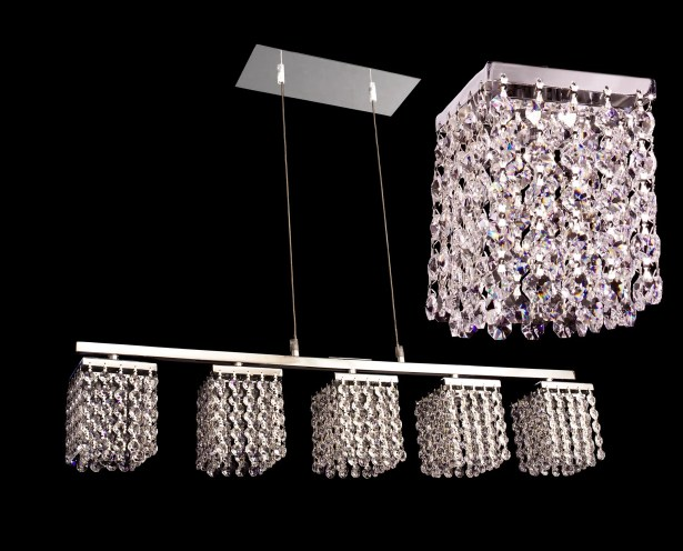 Bedazzle 5-Light Kitchen Island Pendant Crystal: Swarovski Elements Emerald & Clear