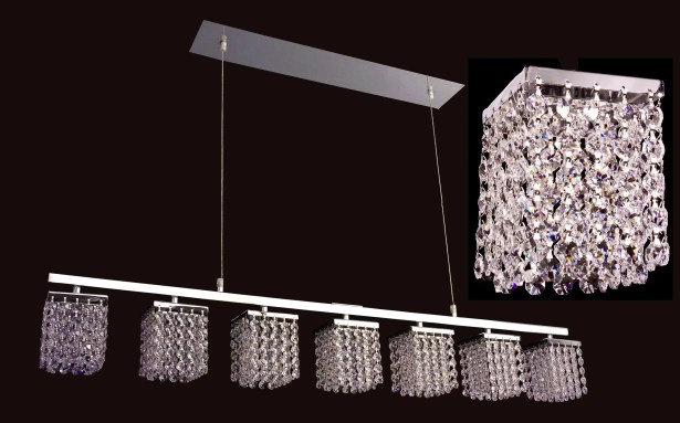 Bedazzle 7-Light Kitchen Island Pendant Crystal: Crystalique-Plus Black