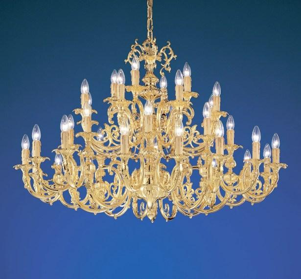 Princeton 36-Light Candle Style Chandelier Finish: 24K Gold Plate, Crystal Type: Swarovski Spectra