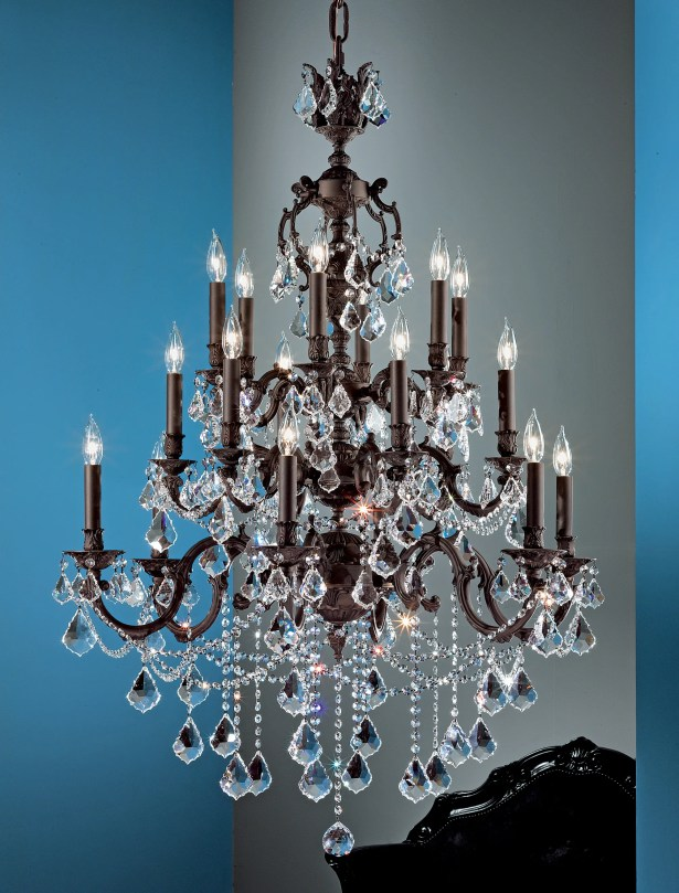 Chateau Imperial 18-Light Candle Style Chandelier Crystal Type: Swarovski Spectra, Finish: Aged Pewter