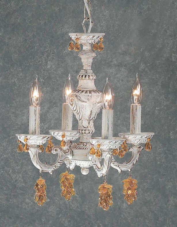 Gabrielle 4-Light Candle Style Chandelier Finish: Antique White, Crystal Type: Swarovski Elements