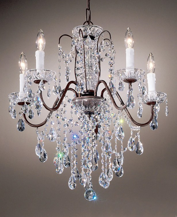 Letitia 5-Light Candle Style Chandelier Crystal Type: Crystalique, Finish: English Bronze