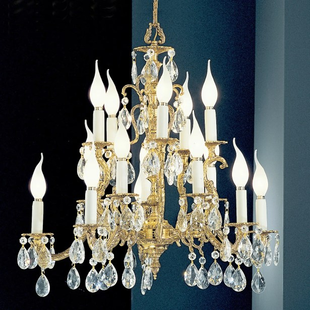 Barcelona 15-Light Candle Style Chandelier Finish: Olde World Bronze, Crystal Type: Swarovski Elements Golden Teak