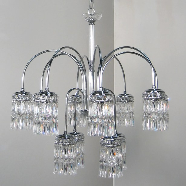 Cascade 8-Light Shaded Chandelier Crystal Type: Amethyst, Finish: English Bronze with Gold