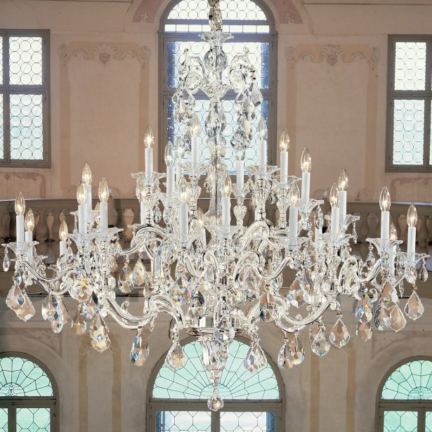 Via Firenze 30-Light Candle Style Chandelier Crystal Type: Italian Rock Clear, Finish: Millenium Silver