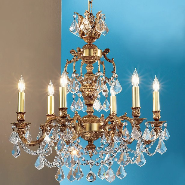 Chateau Imperial 6-Light Candle Style Chandelier Finish: Aged Bronze, Crystal Type: Crystalique Black
