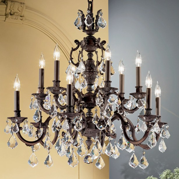Chateau 12-Light Candle Style Chandelier Finish: Aged Bronze, Crystal Type: Crystalique Golden Teak