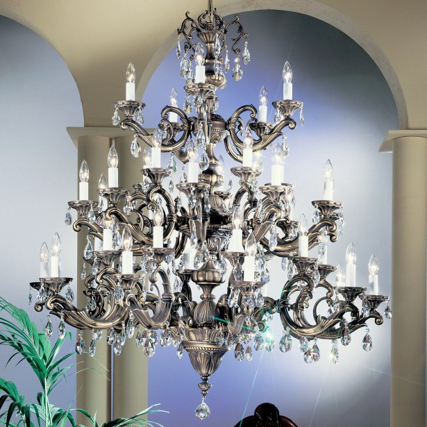Princeton II 40-Light Candle Style Chandelier Finish: Millenium Silver, Crystal Type: Crystalique
