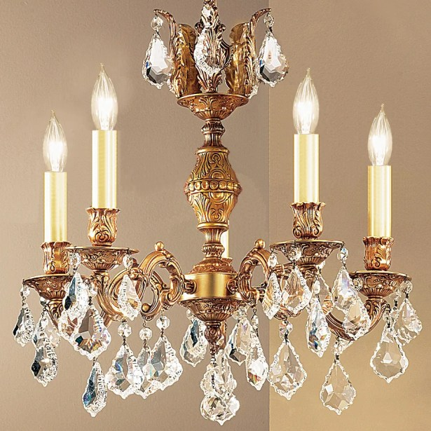 Chateau 5-Light Candle Style Chandelier Crystal Type: Swarovski Elements, Finish: French Gold