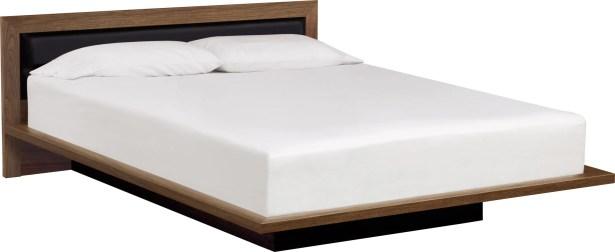 Moduluxe Upholstered Platform Bed Size: Queen, Headboard Color: Ebony, Frame Color: Natural Walnut