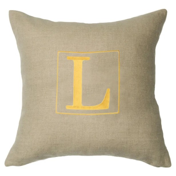 Personalized Annalise Linen Throw Pillow Letter: H