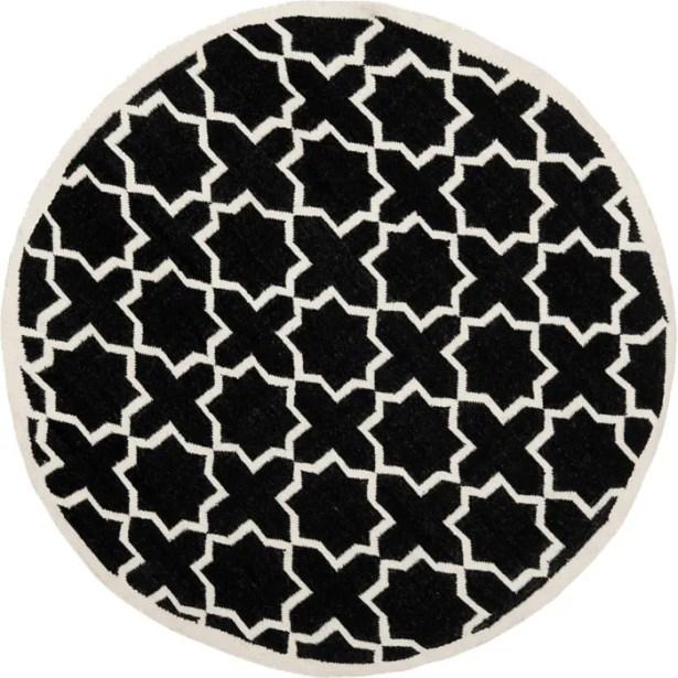 Dhurries Black Area Rug Rug Size: Rectangle 9' x 12'