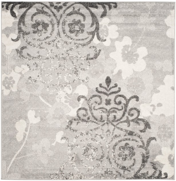 Frizzell Silver/Ivory Area Rug Rug Size: Square 8'