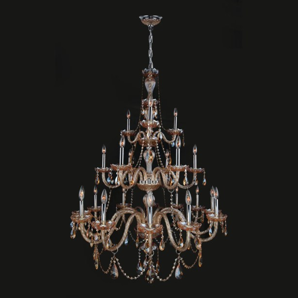 Doggett 21-Light Chandelier Crystal Color: Amber