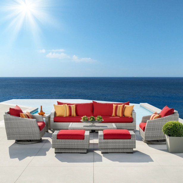 Greenfield Deluxe 8 Piece Rattan Sunbrella Sofa Seating Group with Cushions Fabric: Sunset Red