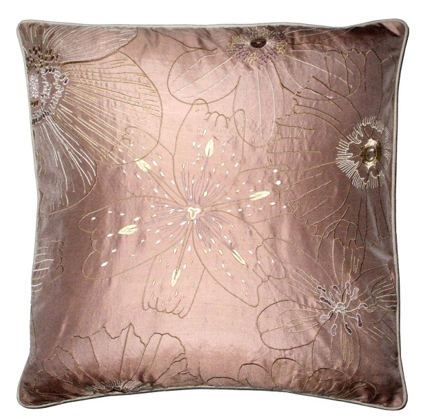 Lille Floral Embroidery Throw Pillow