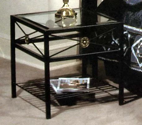 Kaity Glass End Table Metal Color: Jade Teal