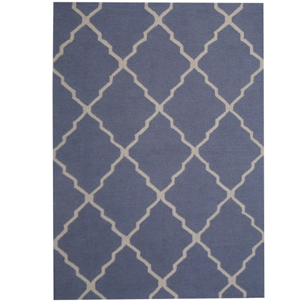 Hand-Tufted Blue/Ivory Indoor Area Rug Rug Size: 5' x 7'