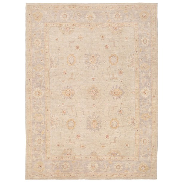 Vegetable Dye Hand-Knotted Ivory/Gray Area Rug