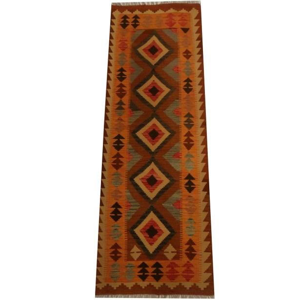 Kilim Hand-Woven Orange Area Rug